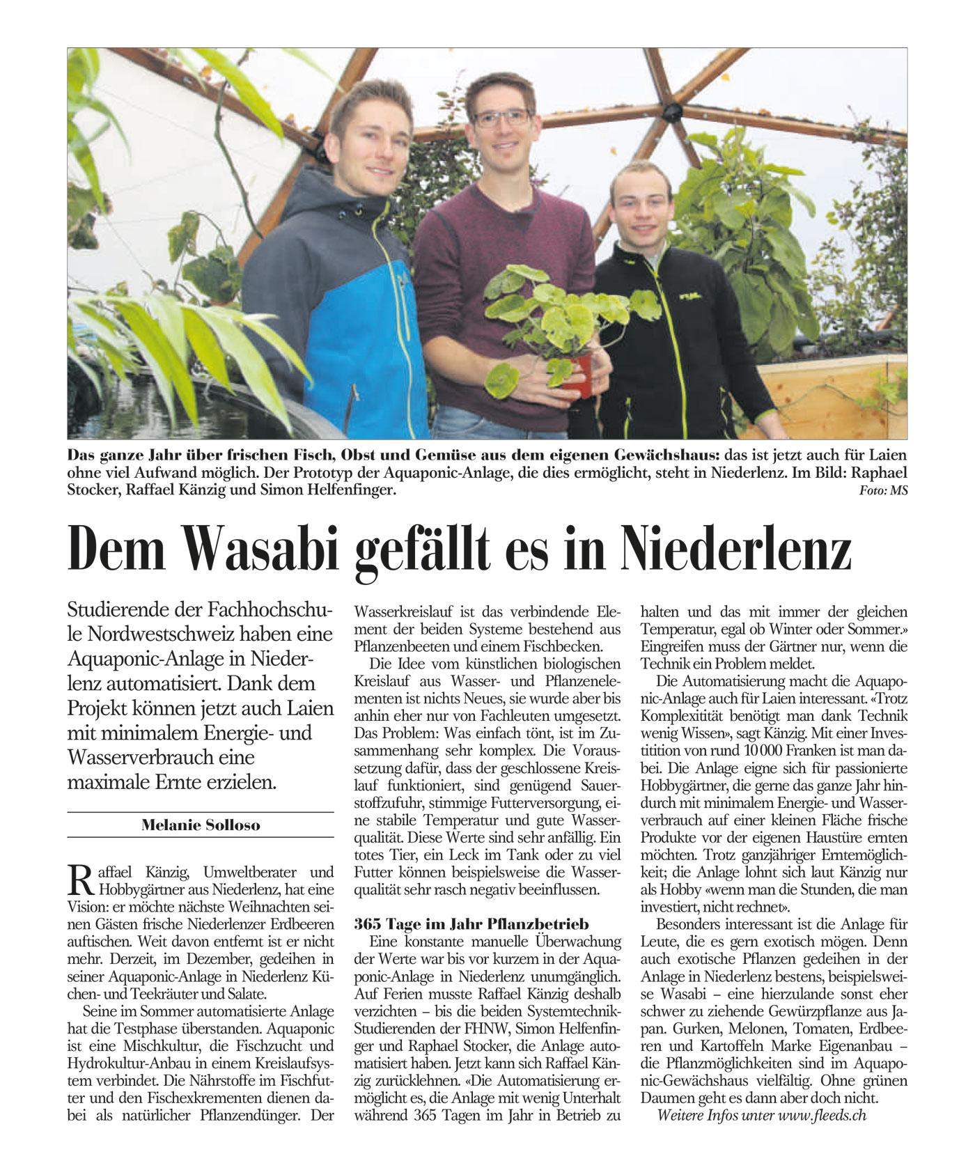 Der Bezirksanzeiger Lenzburg berichtet über unsere Aquaponic-Anlage in Niederlenz.